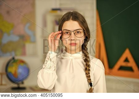 Smart Look. Small Child Girl Posing In School At Lesson. Learning Different Subjects. Back To School