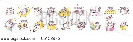 Set Kit Cat Kitty Kitten Kawaii Chibi Emoji Character Sticker Emoticon Smile Emotion Mascot