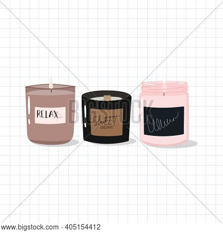 Cute Hand-drawn Candles In Scandinavian Style. Hygge Time. Candle In Glass Jar. Aroma Candles For Co