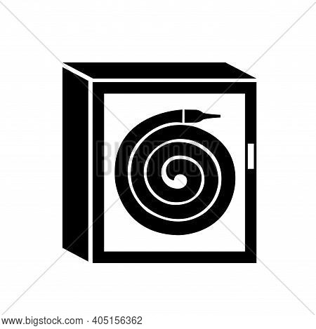 Fire Hose Reel Cabinet Black Icon, Vector Illustration, Isolate On White Background Label. Eps10