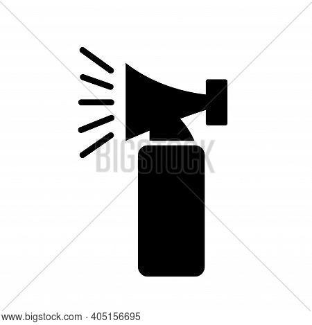 Hand Held Emergency Alarm Black Icon, Vector Illustration, Isolate On White Background Label. Eps10
