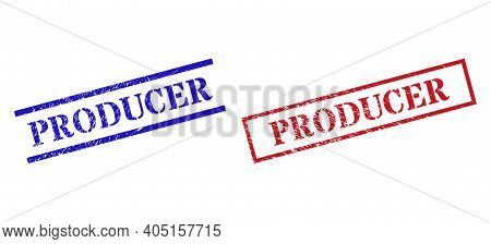 Grunge Producer Stamp Seals In Red And Blue Colors. Seals Have Rubber Style. Vector Rubber Imitation