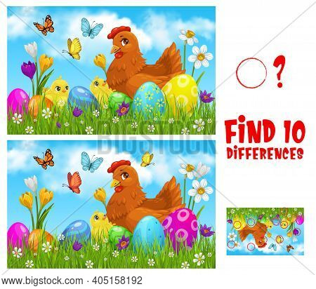 Kids Game Find Ten Differences With Easter Vector Cartoon Chicken With Cute Chicks On Green Spring M