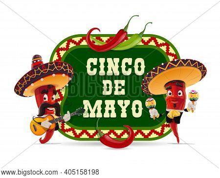 Cinco De Mayo Vector Icon. Mariachi Jalapenos In Mexican Sombrero Playing Guitar And Maracas. Cartoo