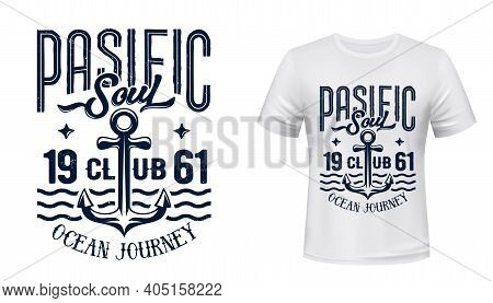 Ship Or Yacht Anchor T-shirt Vector Print. Old Fisherman Or Admiralty Anchor And Sea Waves Retro Ill