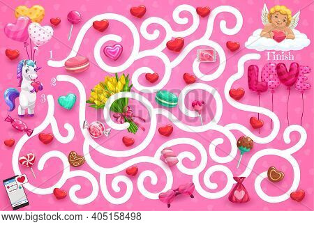 Kids Maze Game Valentines Day Theme, Help Cute Unicorn Find Way To Cupid. Vector Labyrinth Puzzle, C