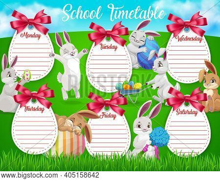 Education School Timetable Vector Template With Cartoon Easter Bunnies With Eggs And Flowers On Gree