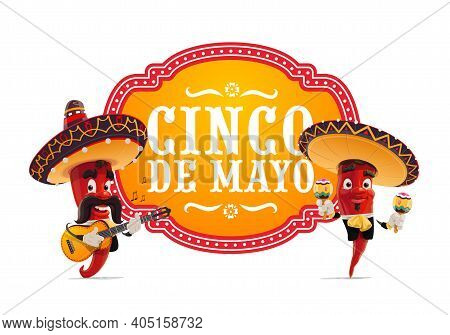 Cinco De Mayo Vector Icon. Mariachi Jalapenos Musicians In Mexican Sombrero Playing Guitar And Marac