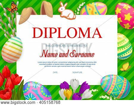 Kindergarten Kids Diploma With Vector Decorated Easter Eggs, Flowers, Rabbit Ears And Cookies On Gre