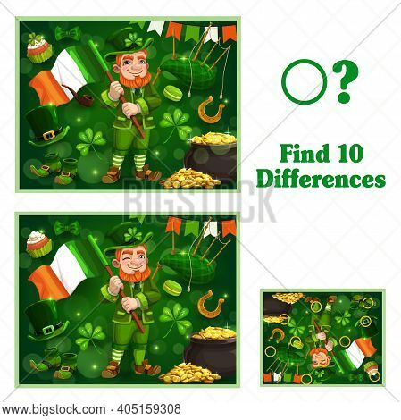 Kids Game Find Ten Differences. Vector Cartoon St Patricks Day Leprechaun Character With Flag And Fe