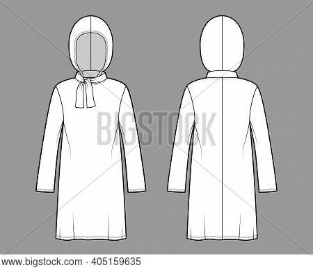 Modest Hijab Tunic Technical Fashion Illustration With Tie, Long Sleeves, Oversized, Under-the-knee