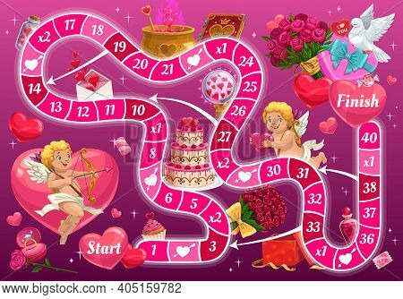 Kids Step Board Game, Vector Valentines Day Boardgame With Cartoon Cupid Characters, Block Path, Num