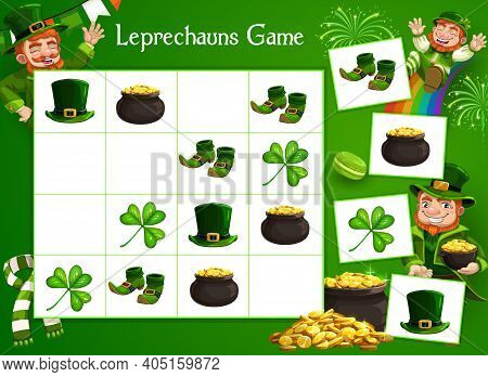 Kids Game Vector Riddle With Cartoon Leprechaun Character, Lucky Clover, Gold And St Patrick Day Ele