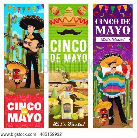 Cinco De Mayo Mexican Holiday Fiesta Party Banners, Vector 5 May Celebration. Cinco De Mayo Mexican