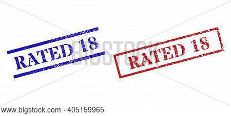 Grunge Rated 18 Stamp Seals In Red And Blue Colors. Stamps Have Rubber Style. Vector Rubber Imitatio