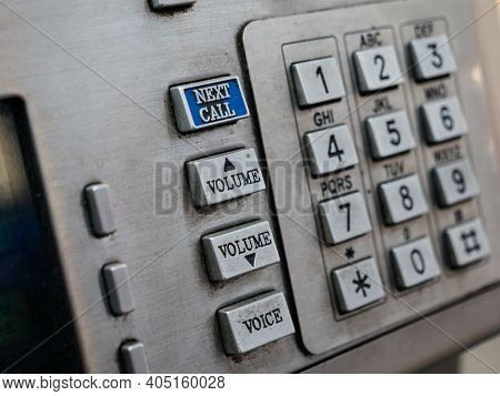 Close-up Of Vintage Phone With Next Call Volume Up And Down And All Keypad Made From Steel In Public