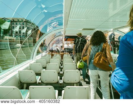 Strasbourg, France - June 18, 2018: Rear View Of Passengers Tourists. Exiting The Batorama Tourist B