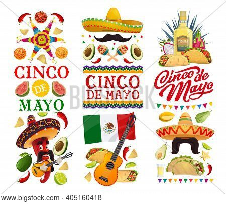 Cinco De Mayo Holiday Vector Banners With Mexican Fiesta Party Food And Red Chili Pepper Character.
