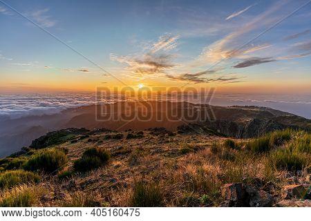 Top Of The Mountain At Sunrise On Pico Do Arieiro And Pico Ruivo, Madeira Island, Portugal
