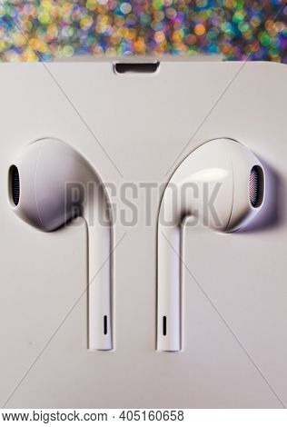 Paris, France - Oct 2, 2018: Apple Computers Earpods Headphones With Lightning Connector New Product