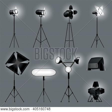 Collection Of Realistic Spotlights With Gray Background For Show Contest Or Interview Vector Illustr
