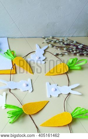 How To Make An Easter Garland Of Rabbits And Carrots With Your Own Hands From Felt. Step By Step Ins