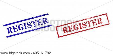 Grunge Register Rubber Stamps In Red And Blue Colors. Seals Have Draft Surface. Vector Rubber Imitat