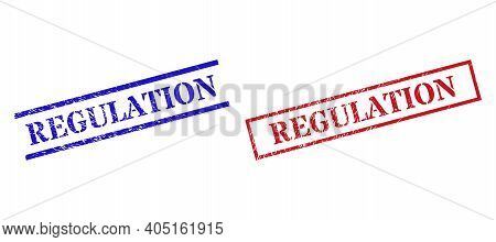 Grunge Regulation Rubber Stamps In Red And Blue Colors. Stamps Have Draft Texture. Vector Rubber Imi