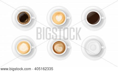 Top View At Different White Coffee Cups On Plates. Realistic Vector Illustration Of Various Hot Coff