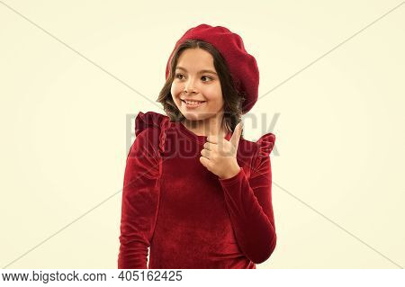 Parisian Girl In Beret. Fashion Portrait Cute Girl Wear Trendy Hat. Clothes Shop. Fancy Accessories.