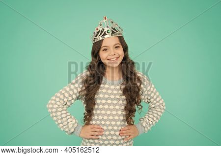 Today I Want To Be Princess. Little Princess Smile Blue Background. Princess Girl Wear Crown. Happy