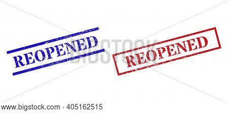 Grunge Reopened Rubber Stamps In Red And Blue Colors. Stamps Have Rubber Texture. Vector Rubber Imit