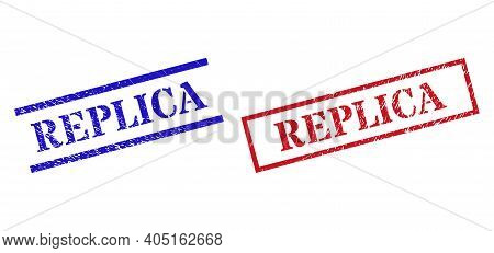 Grunge Replica Rubber Stamps In Red And Blue Colors. Stamps Have Draft Style. Vector Rubber Imitatio