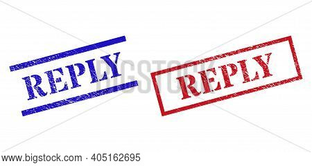 Grunge Reply Rubber Stamps In Red And Blue Colors. Stamps Have Draft Surface. Vector Rubber Imitatio