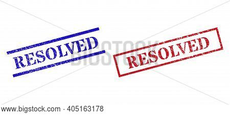 Grunge Resolved Rubber Stamps In Red And Blue Colors. Stamps Have Rubber Surface. Vector Rubber Imit