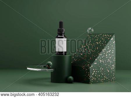 Essential Oil Bottle Mockup. Contemporary Modern Abstract Composition In Dark Green Tones With Golde