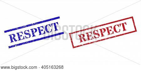 Grunge Respect Rubber Stamps In Red And Blue Colors. Stamps Have Rubber Style. Vector Rubber Imitati