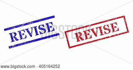Grunge Revise Rubber Stamps In Red And Blue Colors. Stamps Have Rubber Texture. Vector Rubber Imitat