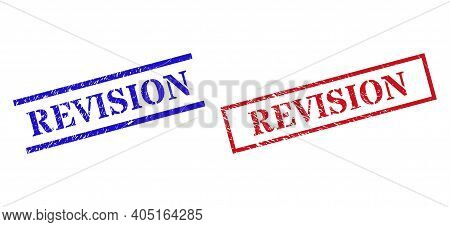 Grunge Revision Rubber Stamps In Red And Blue Colors. Stamps Have Draft Style. Vector Rubber Imitati