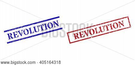 Grunge Revolution Rubber Stamps In Red And Blue Colors. Stamps Have Distress Surface. Vector Rubber