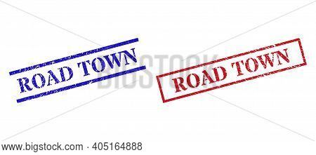 Grunge Road Town Rubber Stamps In Red And Blue Colors. Stamps Have Rubber Style. Vector Rubber Imita