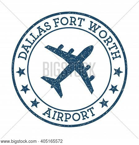 Dallas Fort Worth Airport Logo. Airport Stamp Vector Illustration. Dallas-fort Worth Aerodrome.