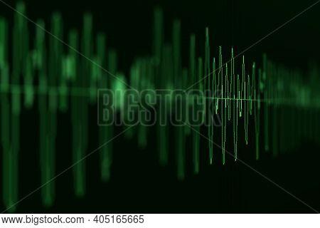 Image Macro Closeup Of Seismic, Stock Market, And Sound Audio Wave Diagram. Blur, Dof.