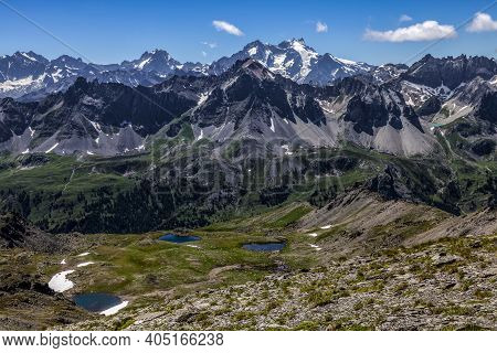 View Of The Ecrins Massiff In The Background With The Small Lakes Gradioles In The First Plane On Cl
