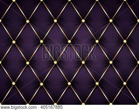 Dark Purple Leather Capitone Background Texture. Violet Glossy Upholstery Premium Dark Fabric Textur