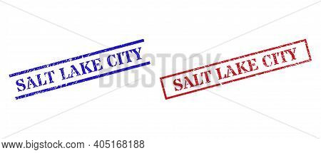 Grunge Salt Lake City Stamp Seals In Red And Blue Colors. Seals Have Rubber Texture. Vector Rubber I