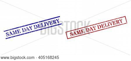 Grunge Same Day Delivery Rubber Stamps In Red And Blue Colors. Stamps Have Rubber Texture. Vector Ru
