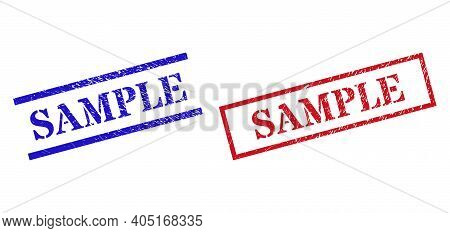 Grunge Sample Stamp Seals In Red And Blue Colors. Seals Have Rubber Texture. Vector Rubber Imitation
