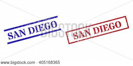 Grunge San Diego Rubber Stamps In Red And Blue Colors. Seals Have Draft Style. Vector Rubber Imitati