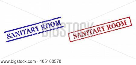 Grunge Sanitary Room Rubber Stamps In Red And Blue Colors. Seals Have Distress Texture. Vector Rubbe